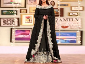Mirror Work Embroidered Black Chiffon Dress