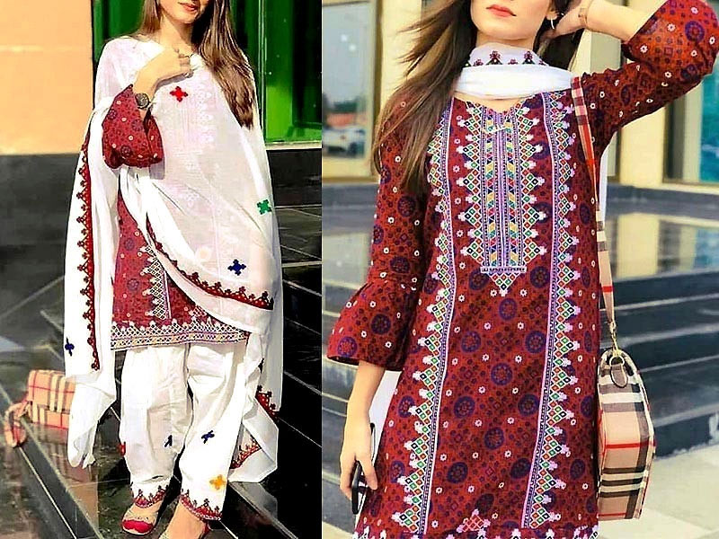Heavy Panel Embroidered Ajrak Design Lawn Dress with Lawn Dupatta Price in Pakistan