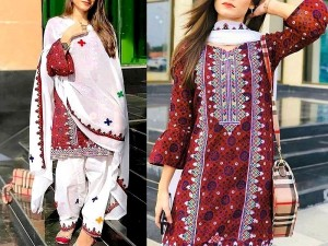 Traditional Embroidered Lawn Dress with Lawn Dupatta Price in Pakistan