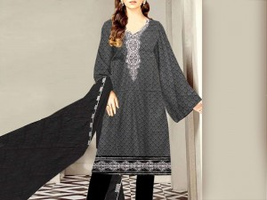 Embroidered Black Lawn Dress with Embroidered Chiffon Dupatta Price in Pakistan