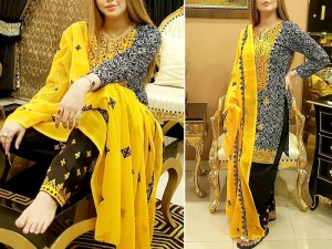 Traditional Embroidered Cotton Lawn Dress with Embroidered Chiffon Dupatta Price in Pakistan