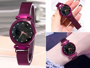 Luxury Magnetic Strap Ladies Watch - Purple Price in Pakistan