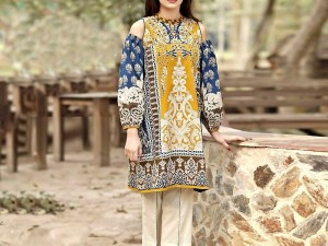 Hit Design Embroidered Linen Dress with Wool Shawl Dupatta