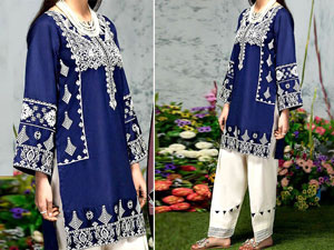 2-Pcs Embroidered Navy Blue Linen Suit 2020 Price in Pakistan