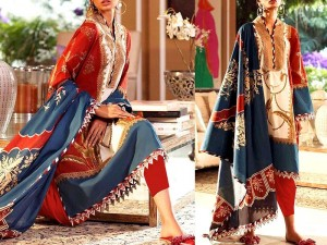Vibrant Embroidered Linen Dress with Linen Dupatta Price in Pakistan