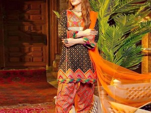 Trendy Embroidered Linen Dress 2020 with Wool Shawl Dupatta Price in Pakistan