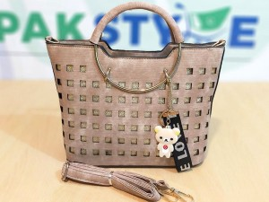 High Quality Women's Fashion Handbag with Hanging Charm
