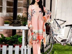Embroidered Linen Suit with Linen Dupatta