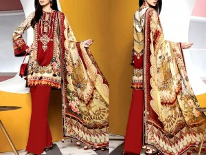 Heavy Embroidered Kotail Linen Dress with Wool Shawl Price in Pakistan