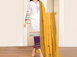 Heavy Embroidered Linen Dress with Bamber  Chiffon Dupatta Price in Pakistan