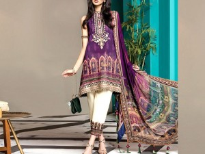 Luxury Embroidered Kotail Linen Dress with Wool Shawl