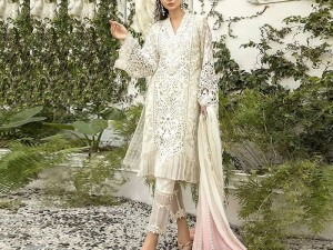Heavy Embroidered Cutwork Organza Dress with Chiffon Dupatta Price in Pakistan