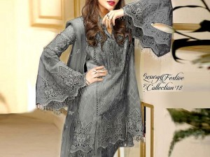 Heavy Embroidered Grey Net Wedding Dress with Inner Price in Pakistan