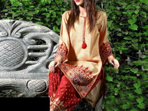 2-Pcs Embroidered Linen Dress with Embroidered Trouser Price in Pakistan