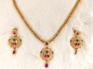Gold Plated Multicolor AD Stones Jewelry Set