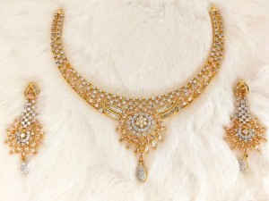 Imitation Champagne Stone Bridal Necklace Set