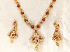 White CZ Red Gemstones Imitation Jewelry Set Price in Pakistan