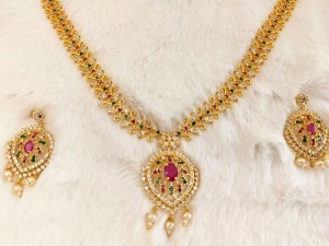 Gold Plated Multicolor AD Stones Jewelry Set for Brides