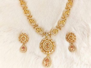 Imitation Champagne Stone Jewellery Set for Wedding Price in Pakistan