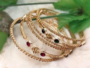 Multicolor Stones Imitation Bangle Set