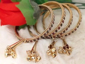 Indian Imitation Bangle Set with Latkan