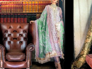 Handwork Heavy Embroidered Organza Dress with Silk Trouser Price in Pakistan