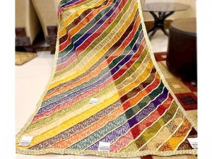 Ready to Wear Multicolor Embroidered Net Dupatta for Mehndi Function