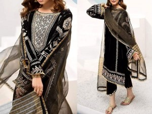 Embroidered Black Chiffon Dress with Net Dupatta