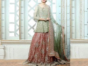 Heavy Embroidered Net Bridal Lehenga Dress
