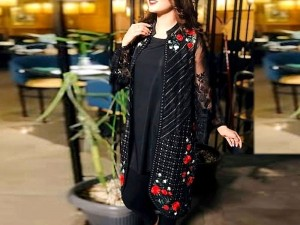 Embroidered Black Chiffon Kurti with Inner