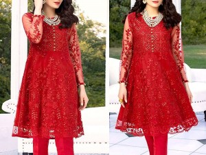 Heavy Embroidered Red Net Kurti with Inner Price in Pakistan