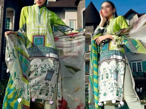 Embroidered Linen Dress with Wool Shawl Dupatta Price in Pakistan