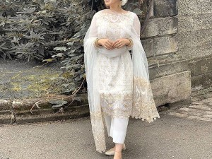 Heavy Embroidered Cotton Dress with Net Dupatta