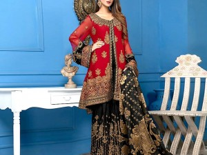 Embroidered Chiffon Dress with Embroidered Silk Trouser