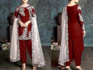 Embroidered Cotton Dress with Net Dupatta