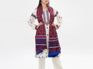 Traditional Embroidered Linen Dress with Ajrak Print Wool Shawl