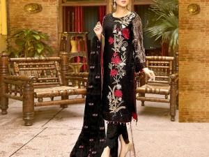 Sequins Embroidered Linen Dress with Embroidered Bamber Chiffon Dupatta