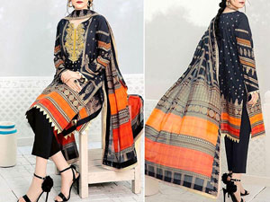 Decent Embroidered Linen Dress with Wool Shawl Dupatta
