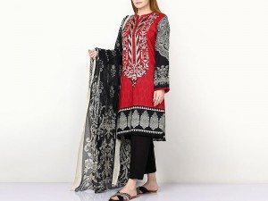 Elegant Embroidered Linen Dress 2020 with Wool Shawl Dupatta