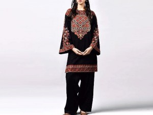 2-Pcs Sequins Embroidered Black Linen Dress Price in Pakistan