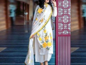 Heavy Embroidered Linen Dress with Embroidered Bamber Chiffon Dupatta Price in Pakistan