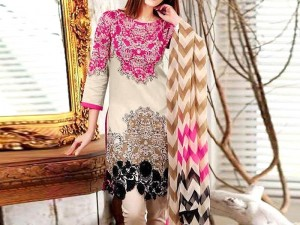 Elegant Embroidered Linen Dress with Wool Shawl Dupatta Price in Pakistan