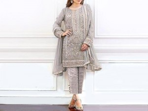 Heavy Handwork Embroidered Grey Masoori Dress