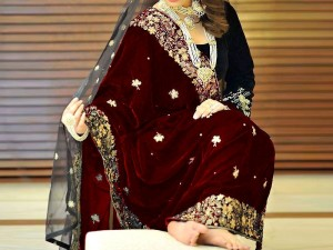 Elegant Embroidered Maroon Bridal Velvet Shawl Price in Pakistan