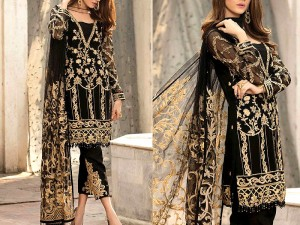 Heavy Embroidered Black Chiffon Dress with Net Dupatta Price in Pakistan