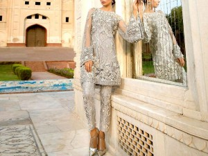 Heavy Embroidered Net Wedding Dress