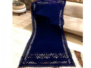 Laser Cutwork Velvet Shawl - Navy Blue Price in Pakistan
