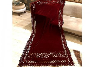Laser Cutwork Velvet Shawl - Maroon Price in Pakistan