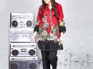 Heavy Embroidered Linen Dress 2020 with Linen Duaptta Price in Pakistan