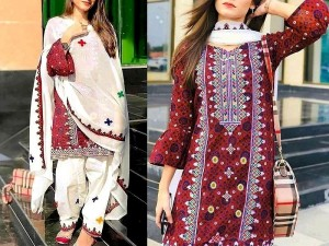 Traditional Embroidered Ajrak Design Linen Dress with Wool Shawl